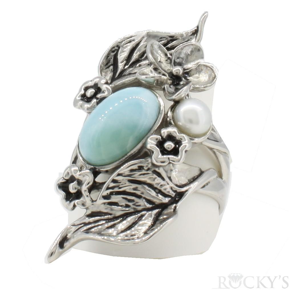 Sterling Silver Larimar ring-LA30151PL