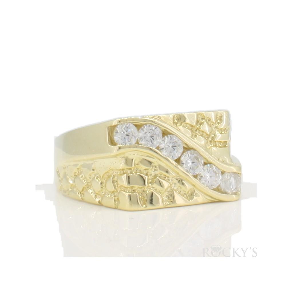 10k yellow gold men's nugget ring-36781