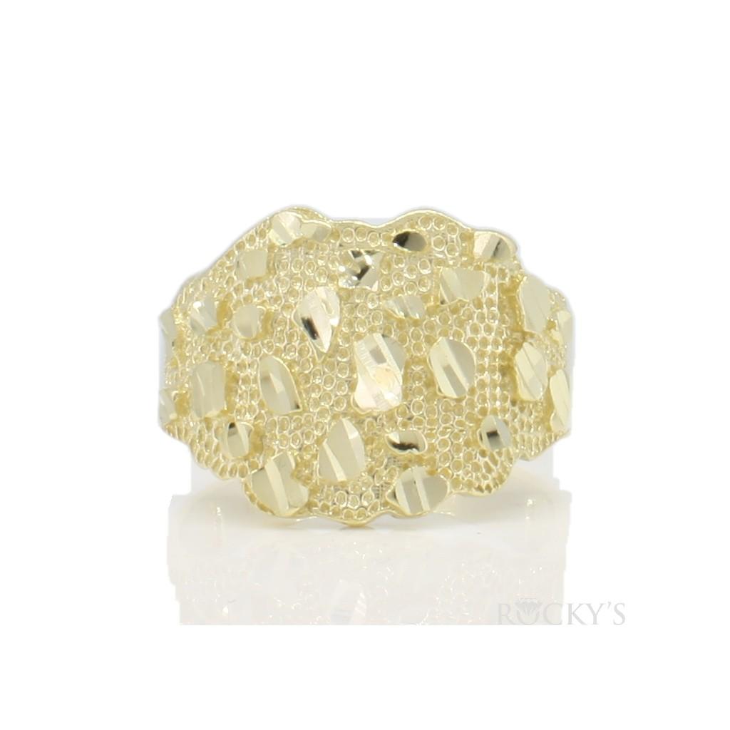 10k yellow gold men's nugget ring-36782