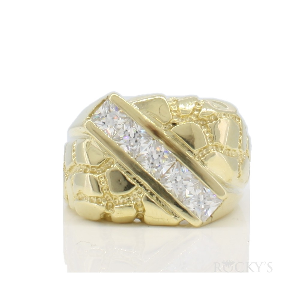 10k yellow gold men's nugget ring-38695