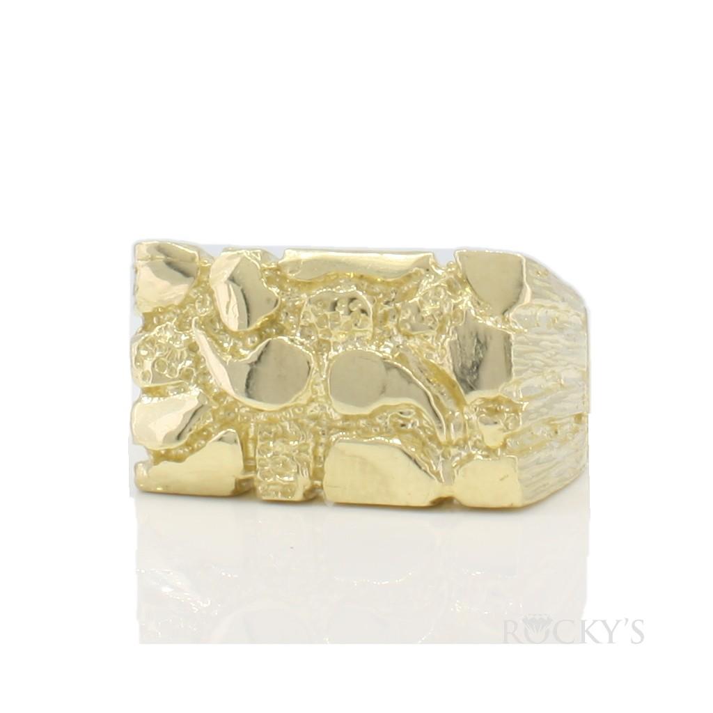 10k yellow gold men's nugget ring-36786