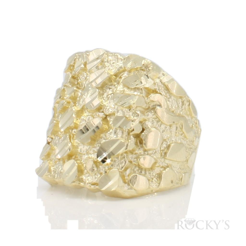 10k yellow gold men's nugget ring-36787
