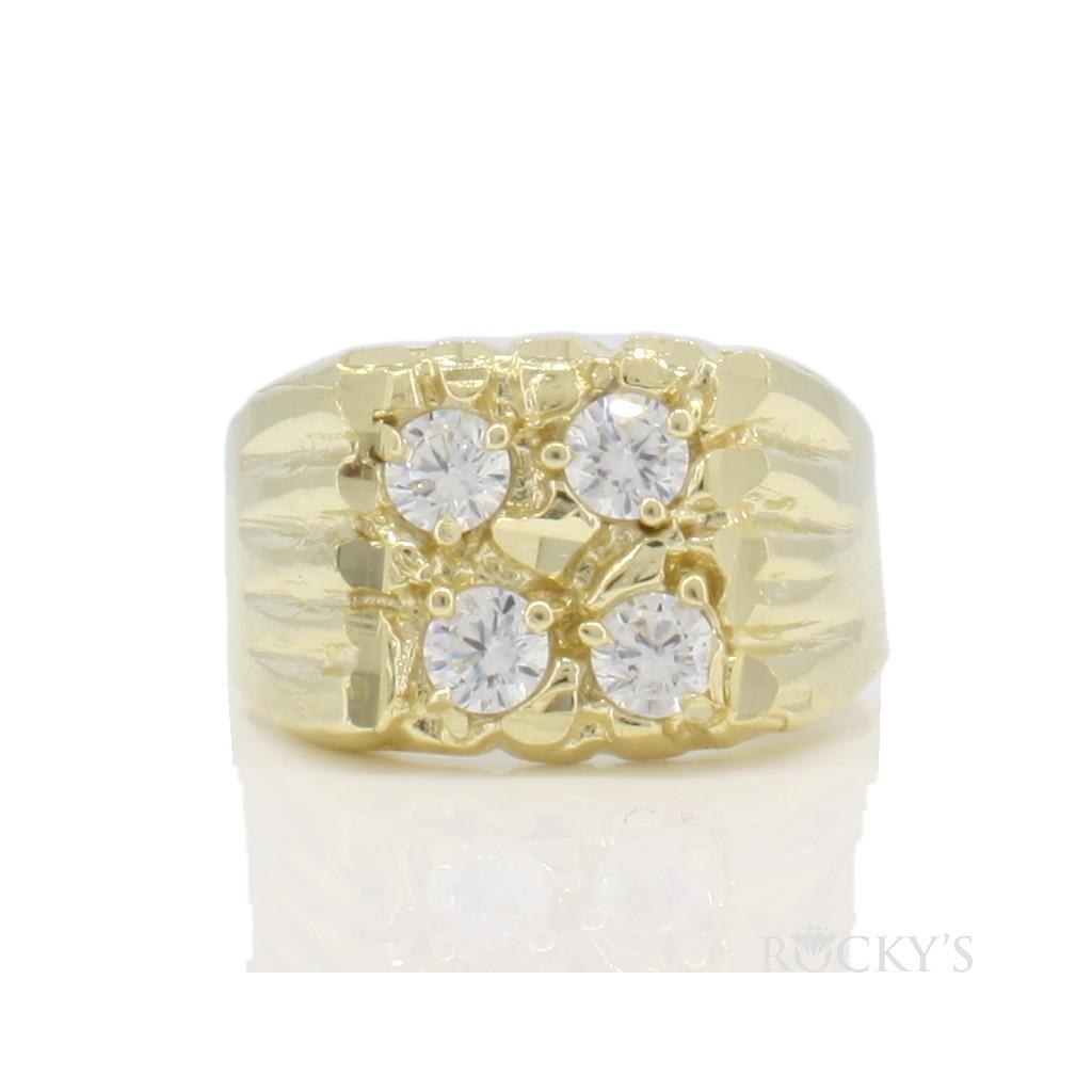 10k yellow gold men's nugget ring-36789