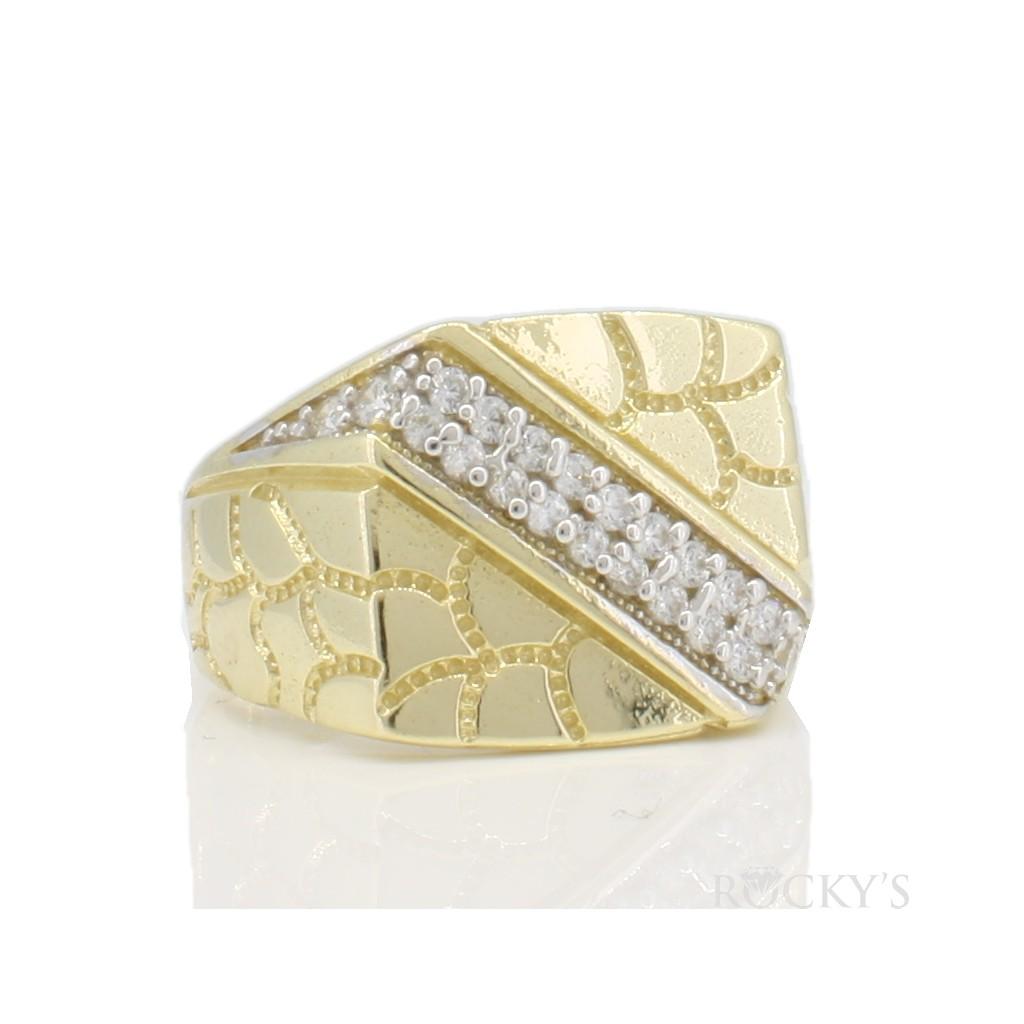10k yellow gold men's nugget ring-36793