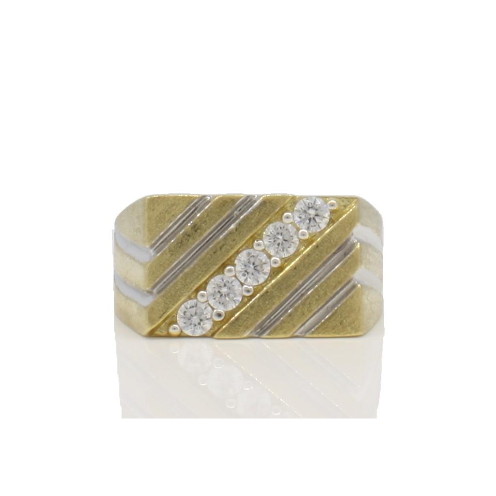 10k yellow gold men's nugget ring-36820