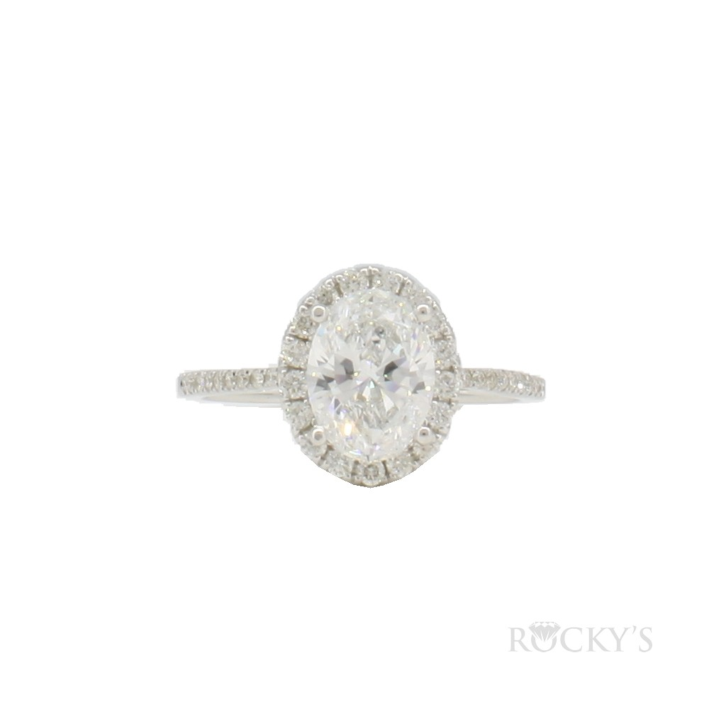 Engagement ring with 1.45 carat oval shape diamond-GIA Certificate