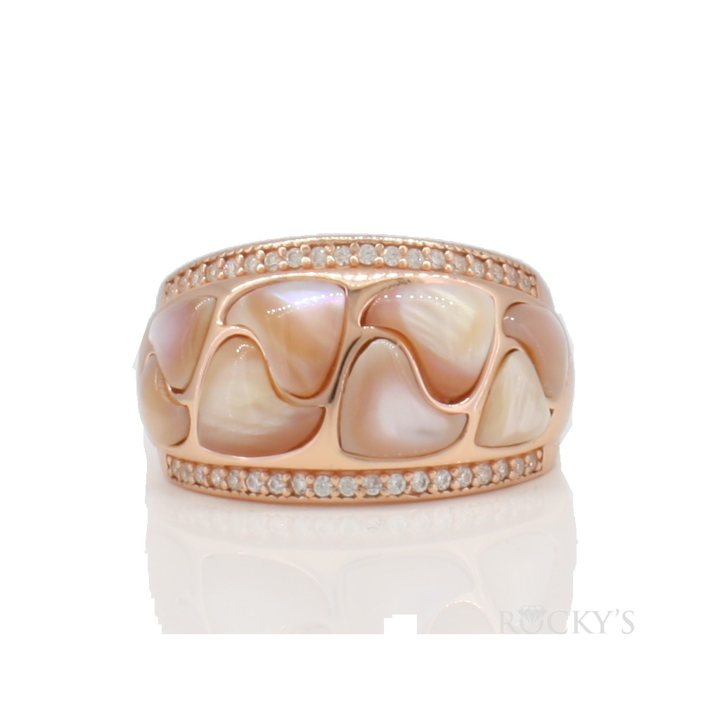 Sterling silver ring pink mother of pearl ring