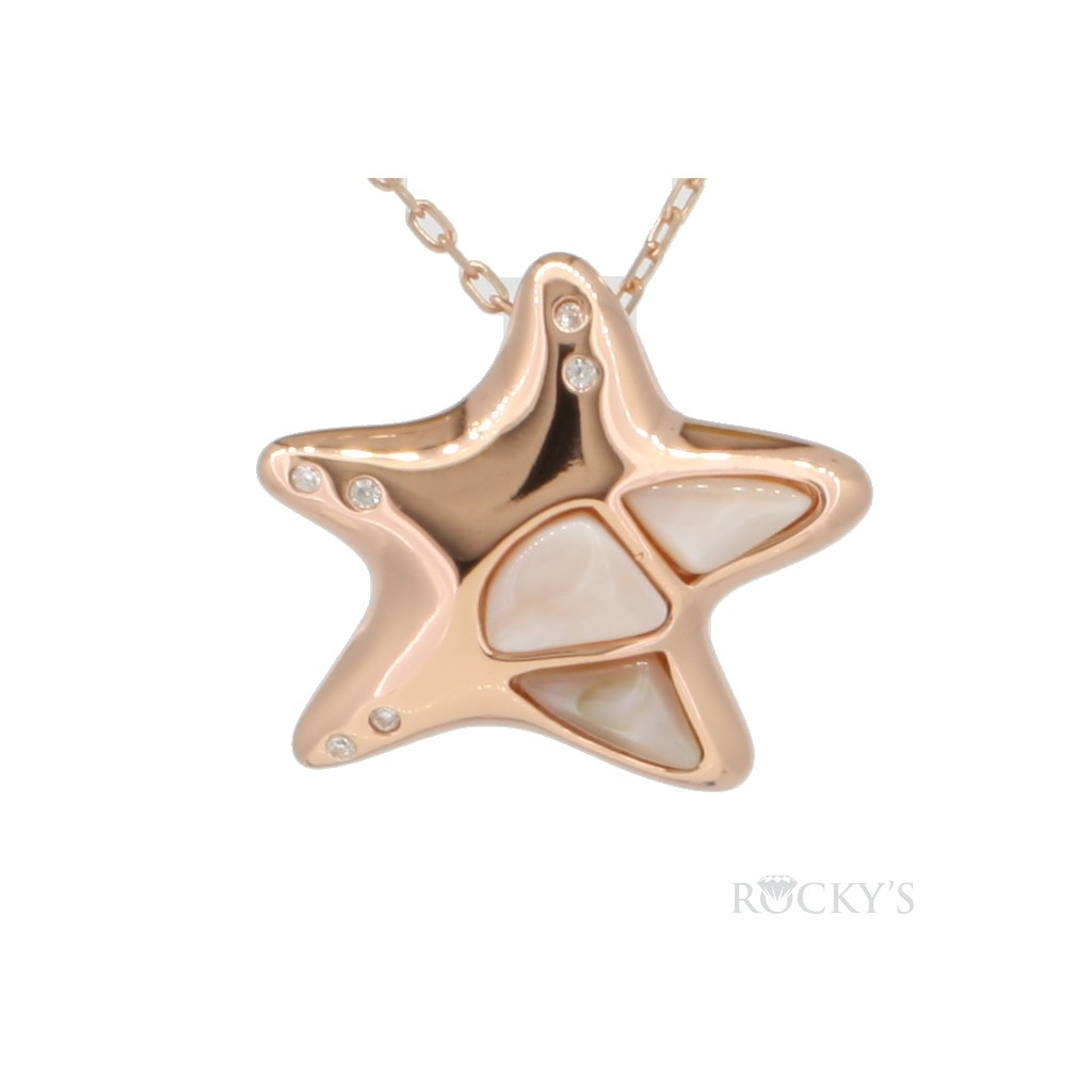 Starfish mother of pearl in sterling silver