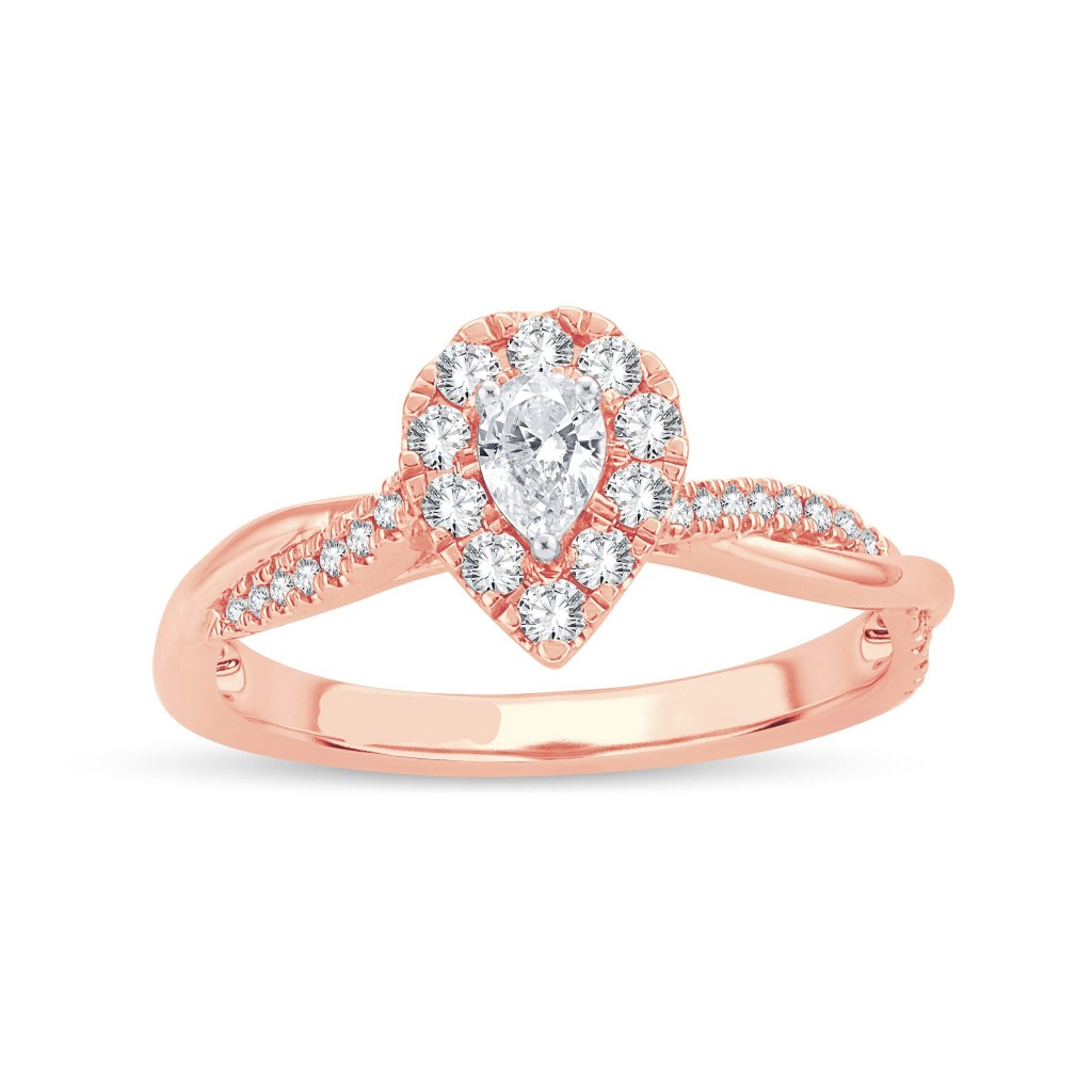 14k rose gold engagement ring with 0.50 carat