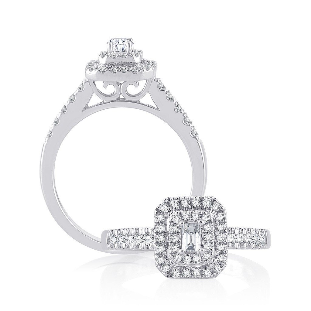 Engagement diamond ring in 14k white gold with 0.52 carat