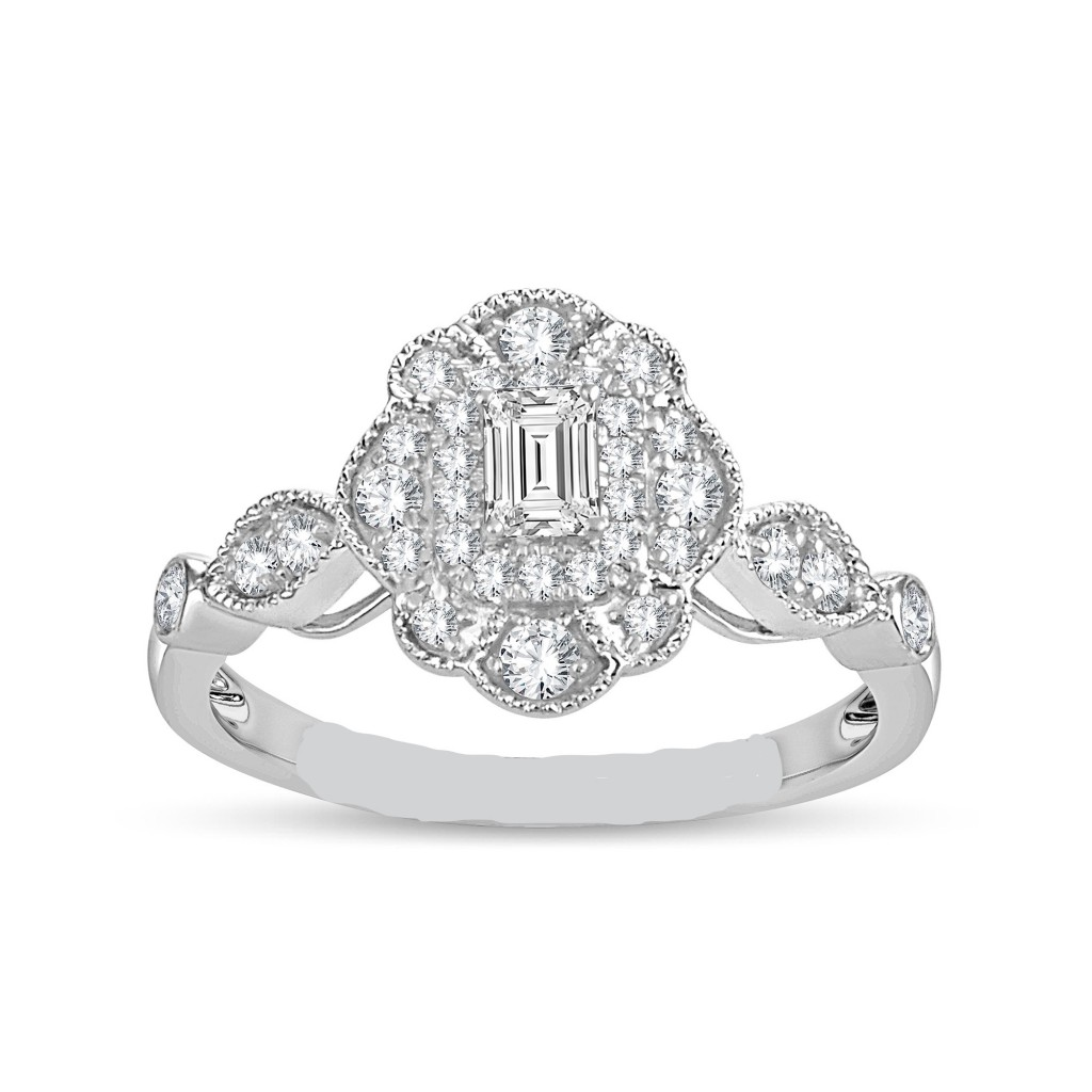 14k white gold engagement ring with 0.50ct