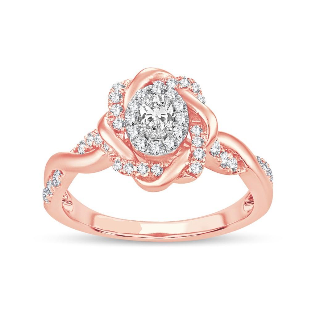 14K rose gold engagement diamond  ring with 0.50 carat
