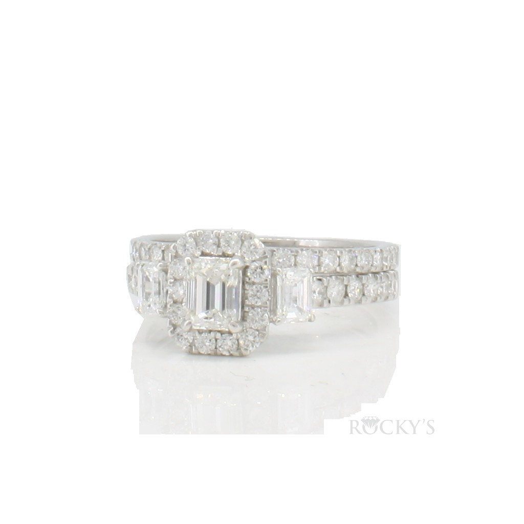 14K white gold engagement diamond ring with 1.50 carat
