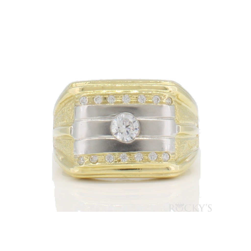 10K two tone gold ring for men
