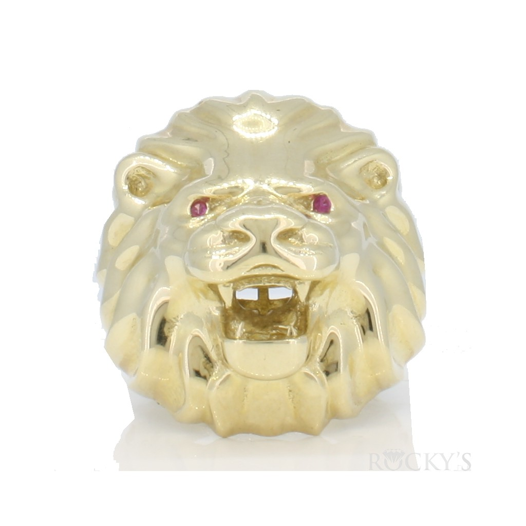 10k yellow gold men's lion ring with 20.60gr