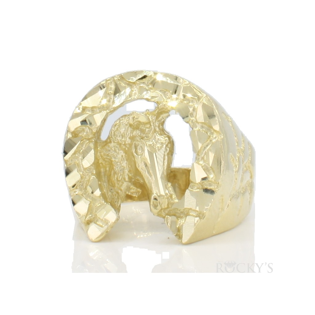 10k yellow gold horseshoe ring for men