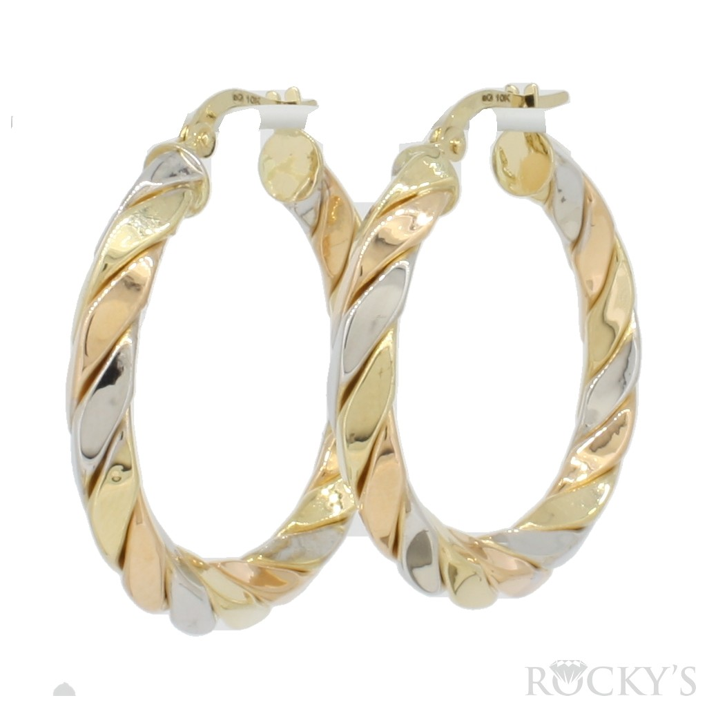 10k three tone gold hoops earring - 36993