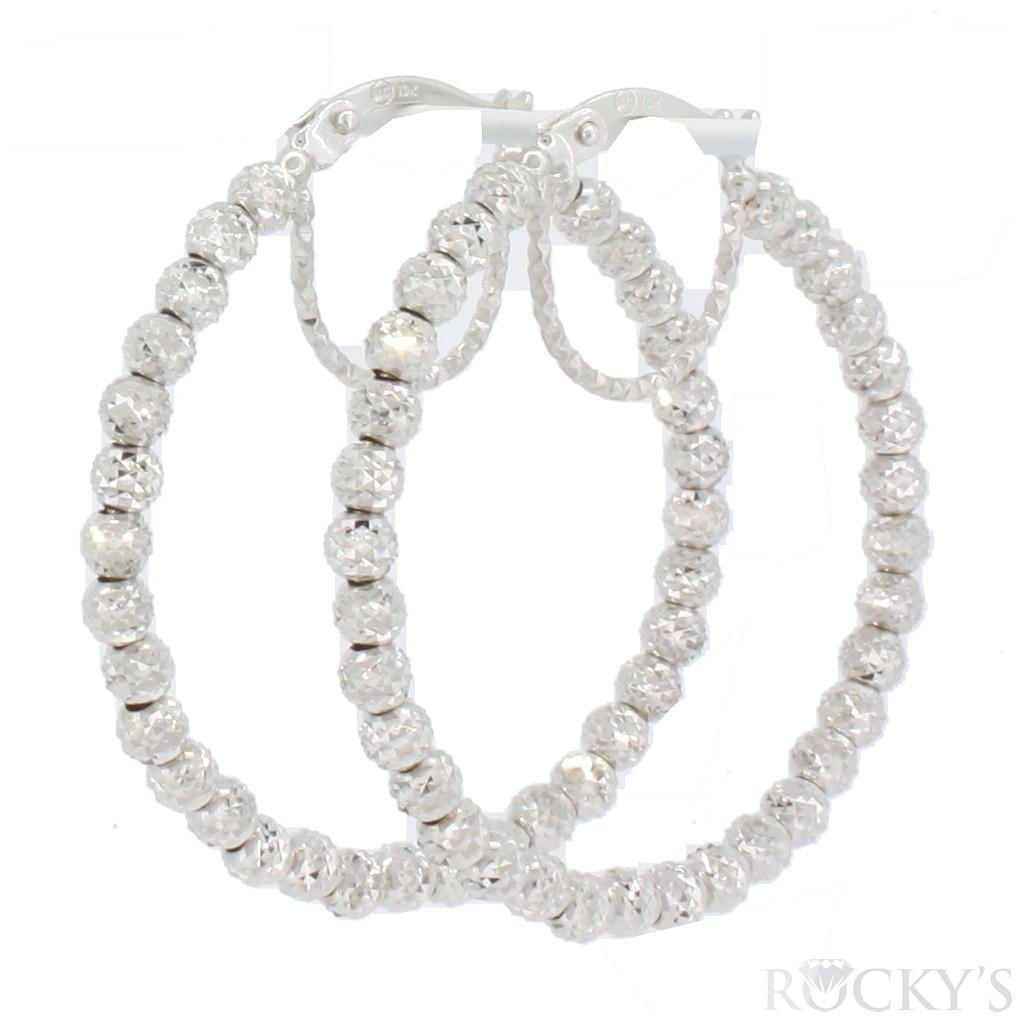 10k white gold hoops earring - 36999