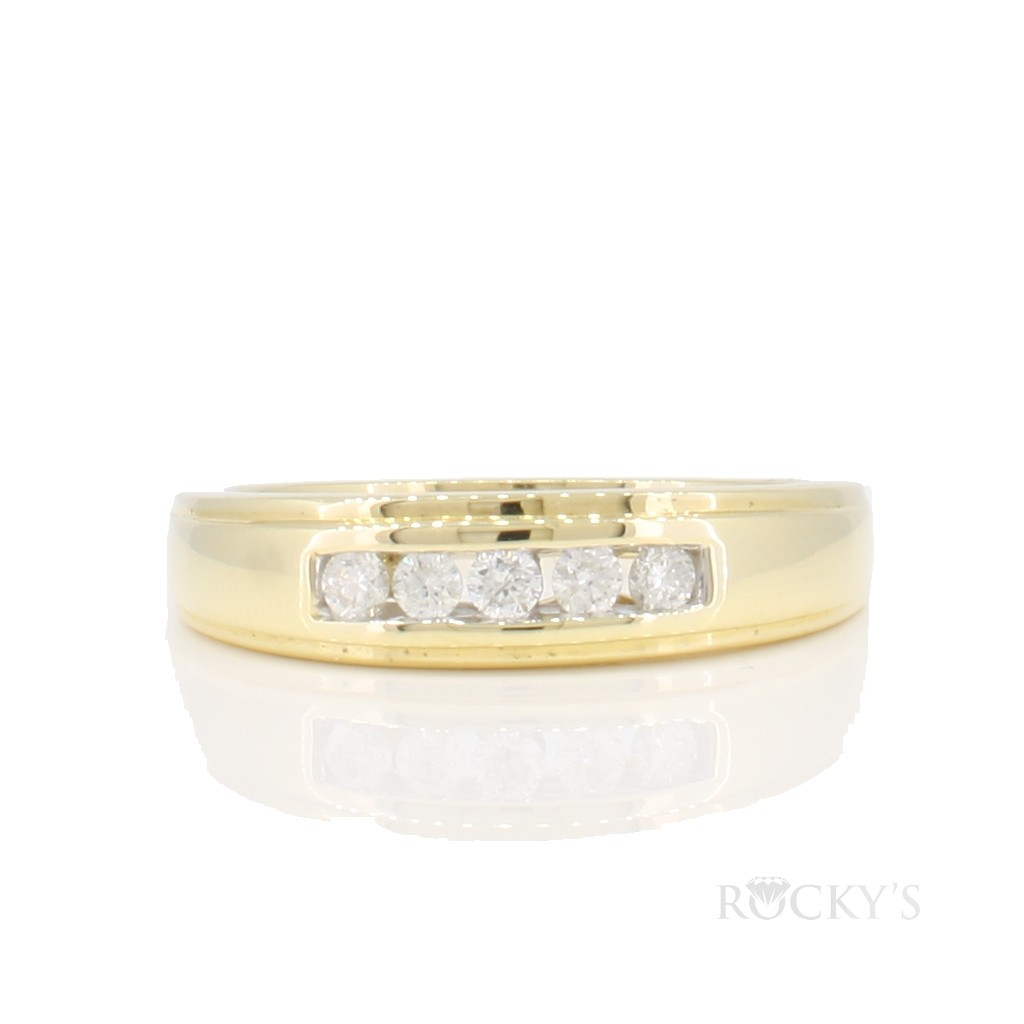 14k Yellow gold men's wedding band with 0.25ct round diamonds
