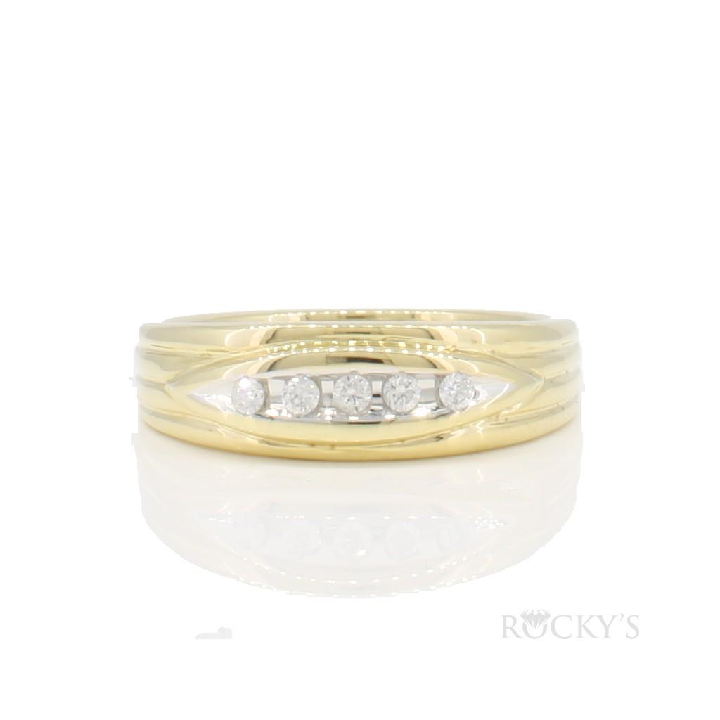 14k yellow gold diamond wedding band  with 0.14ct