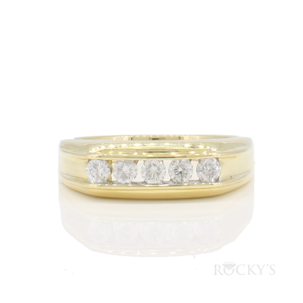14k yellow gold diamond wedding band for men with 0.50ct