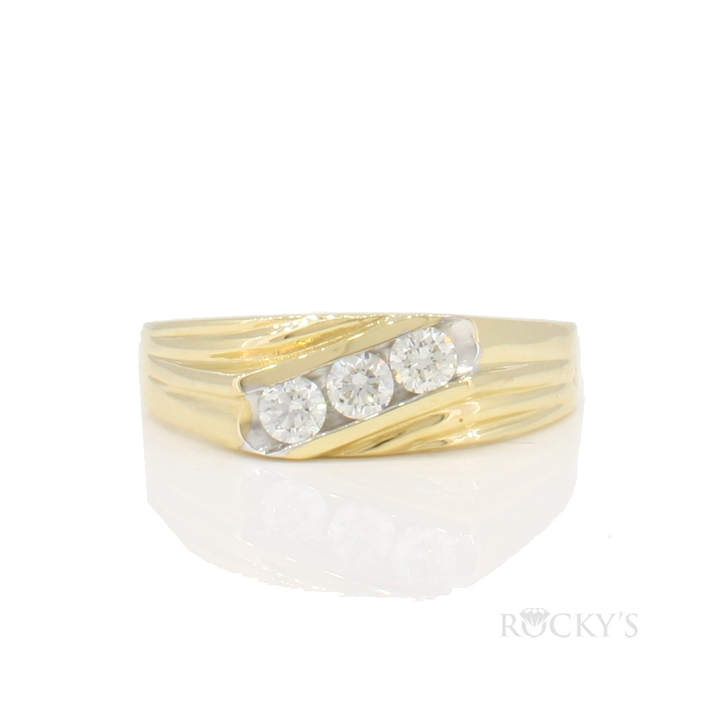 14k yellow gold diamond band for men with 0.45ct