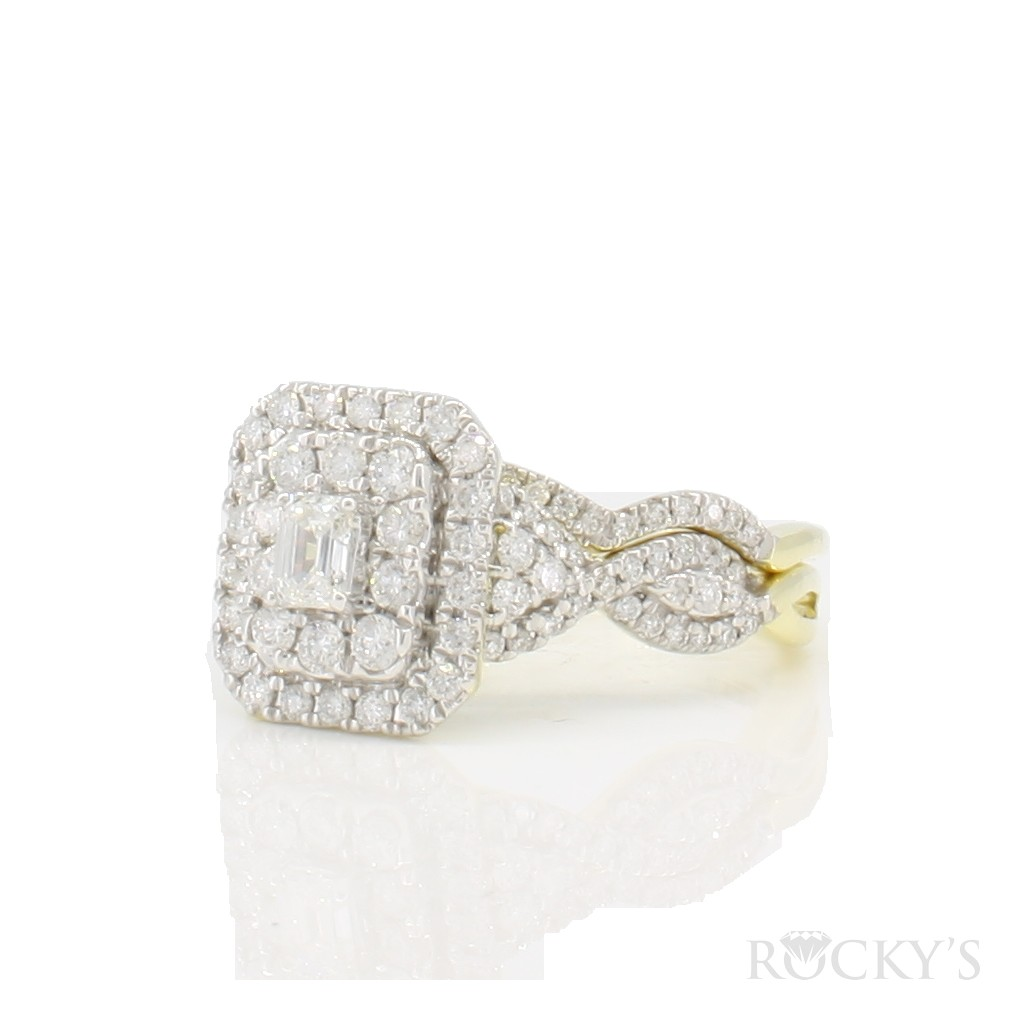 14k yellow gold engagement diamond ring with 1.00ct
