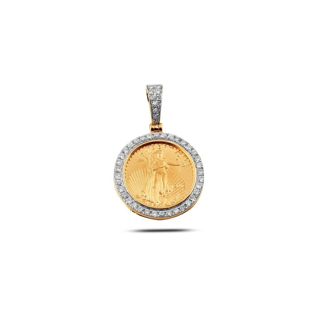 14/24K yellow gold coin pendant  with diamonds 0.60ct