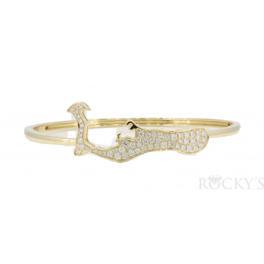 14k yellow gold Grand Cayman bangle with diamonds