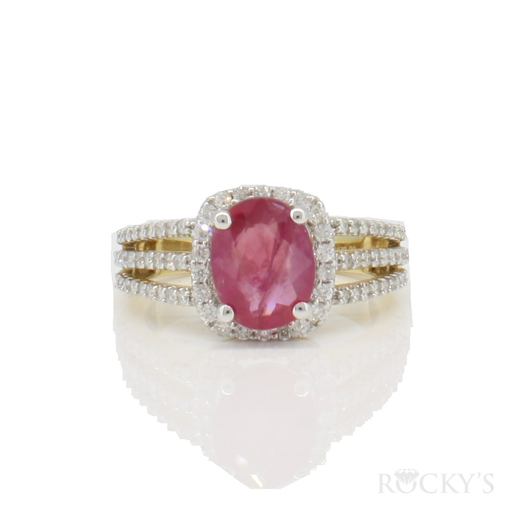 14k yellow gold ruby and diamonds with 2.80ct