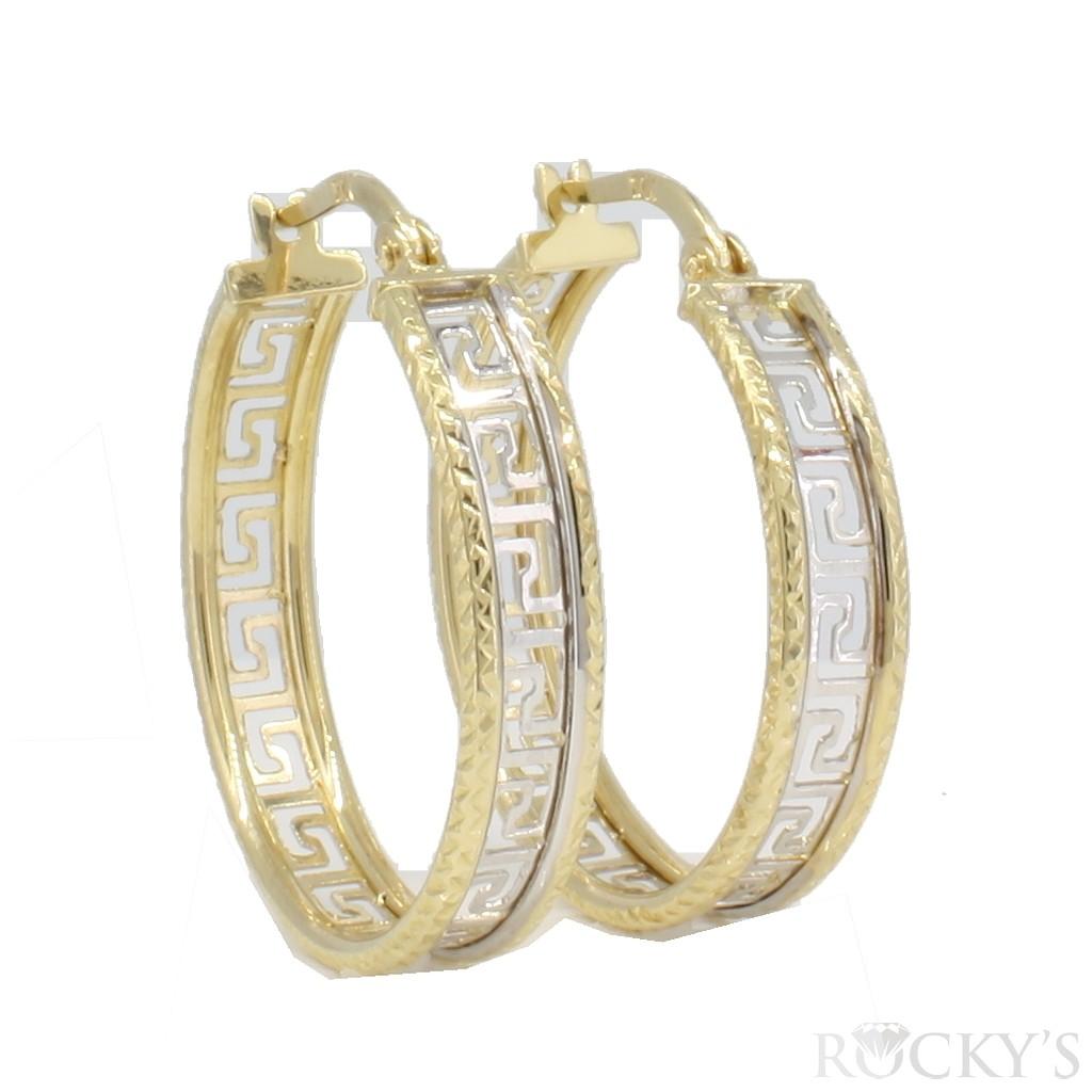 10k two tone gold hoops earrings  - 38724