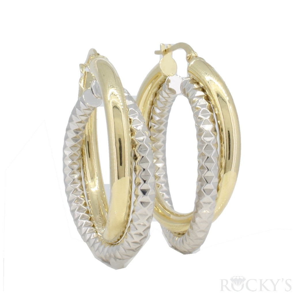 10k two tone gold hoops earrings  -38728