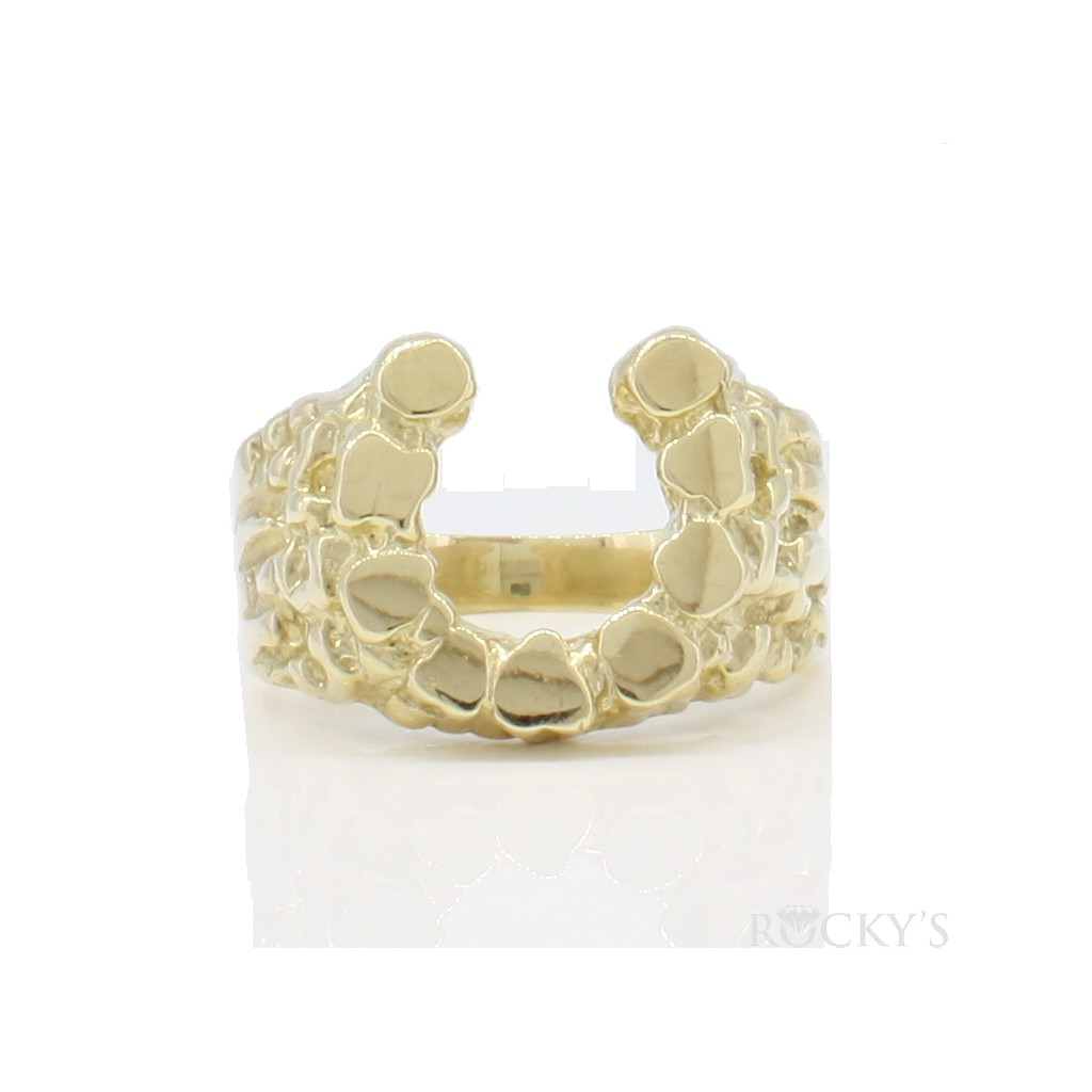 10k yellow gold horseshoe ring -38705