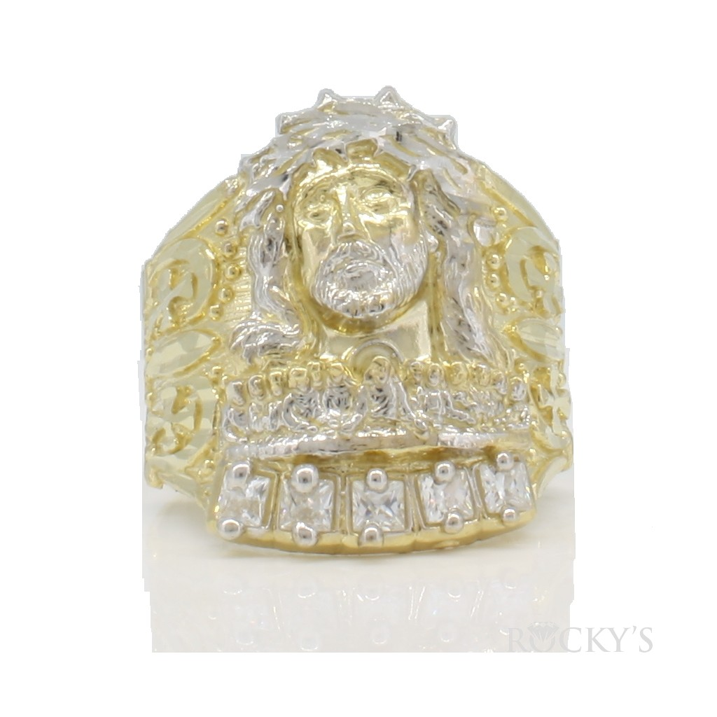 10k yellow gold men's ring -38698