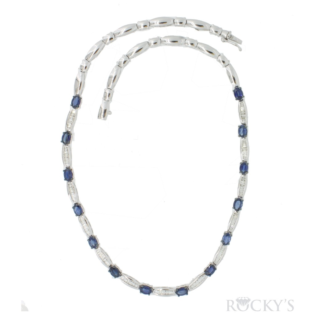 14K white gold sapphire and...