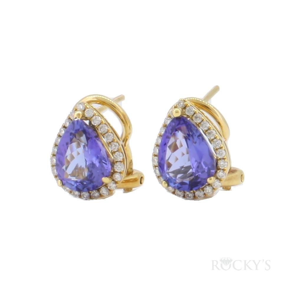 18K Yellow gold tanzanite earrings with diamonds