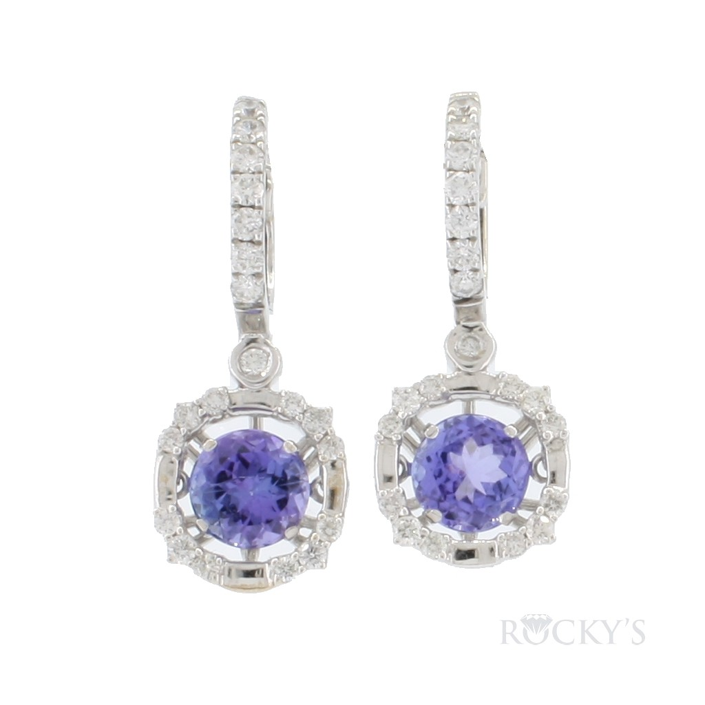 14k white gold tanzanite dangling earrings with 4.78ct