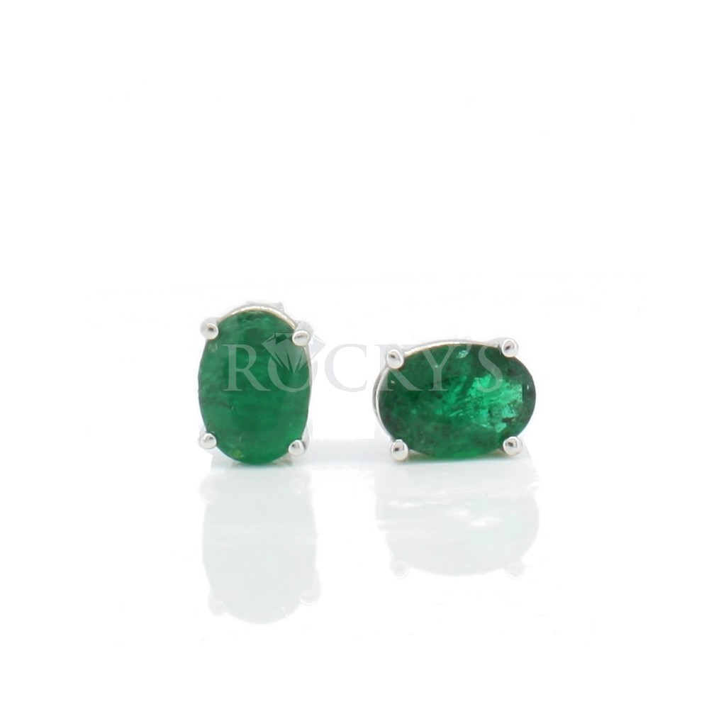 14k white gold emerald studs with 1.44ct