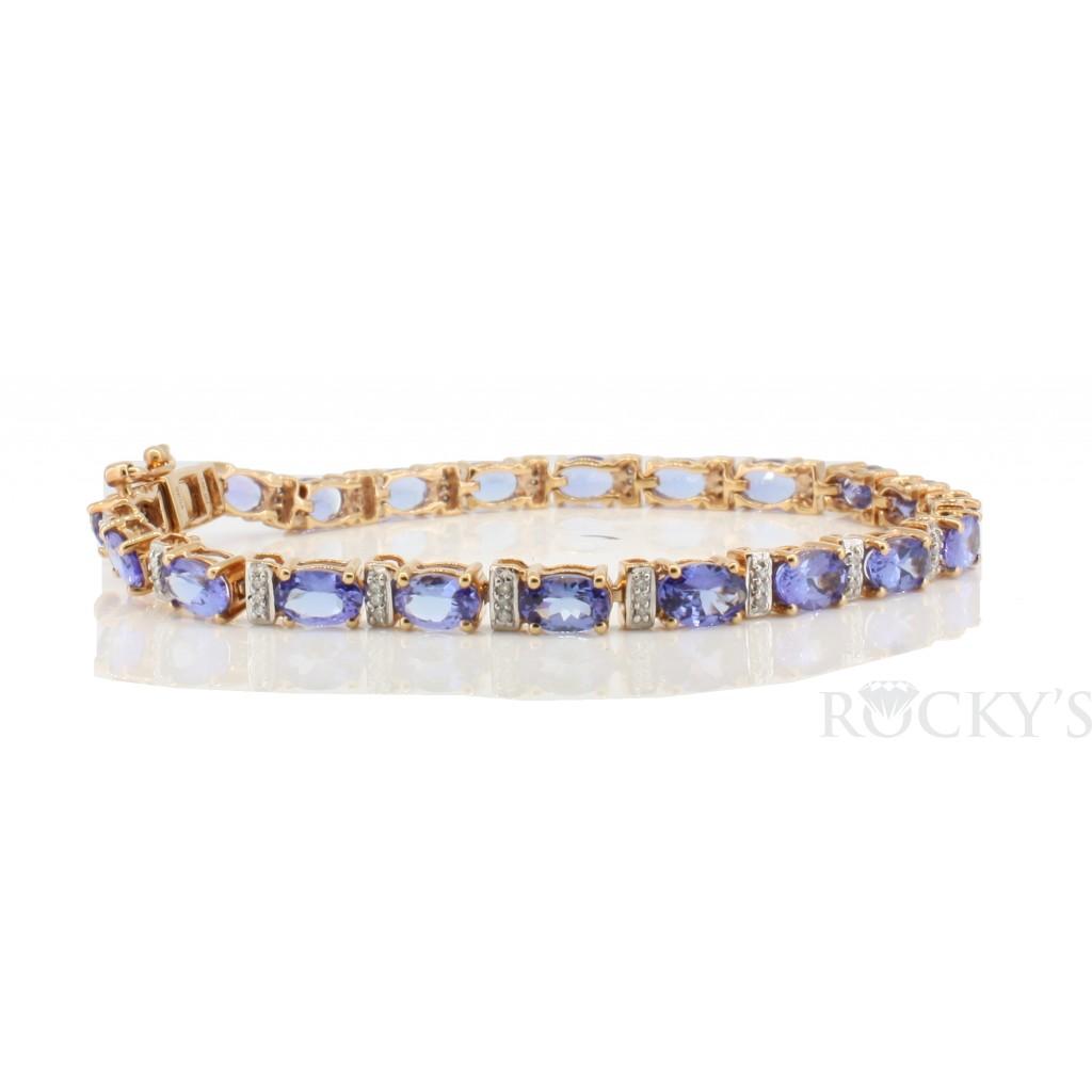 14k Rose gold tanzanite bracelet with 9.56ct