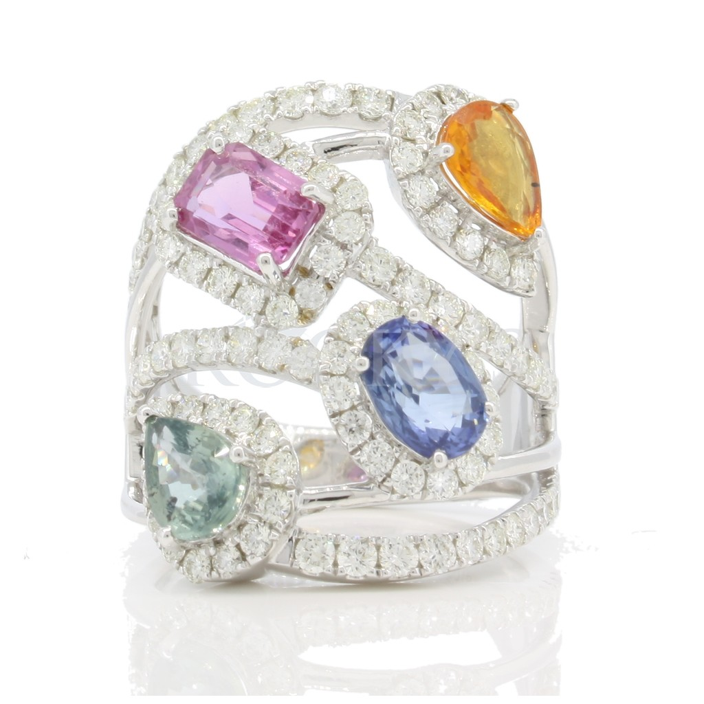 Multi sapphire diamond ring with 4.54 carats