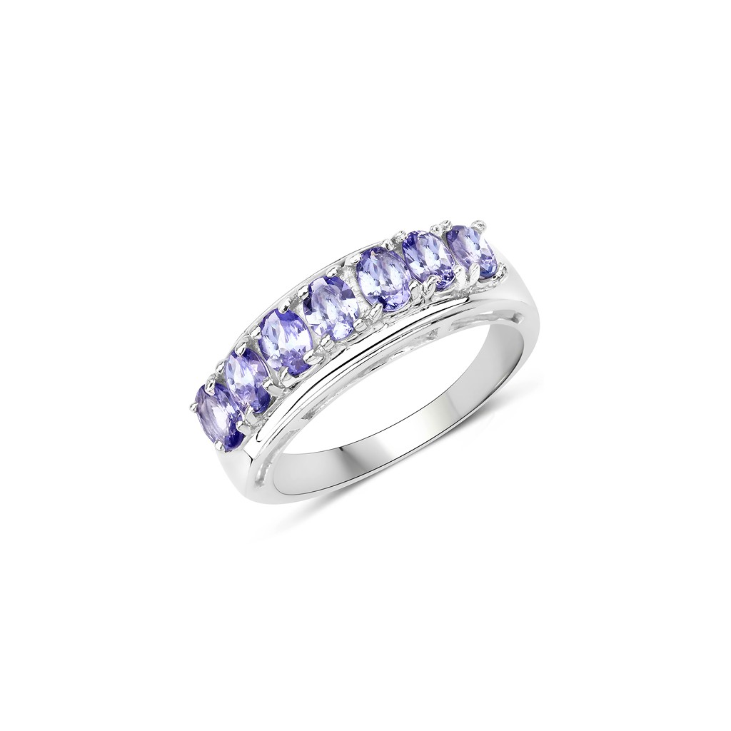 925 Sterling Silver 1.10 Carat Genuine Tanzanite Ring.