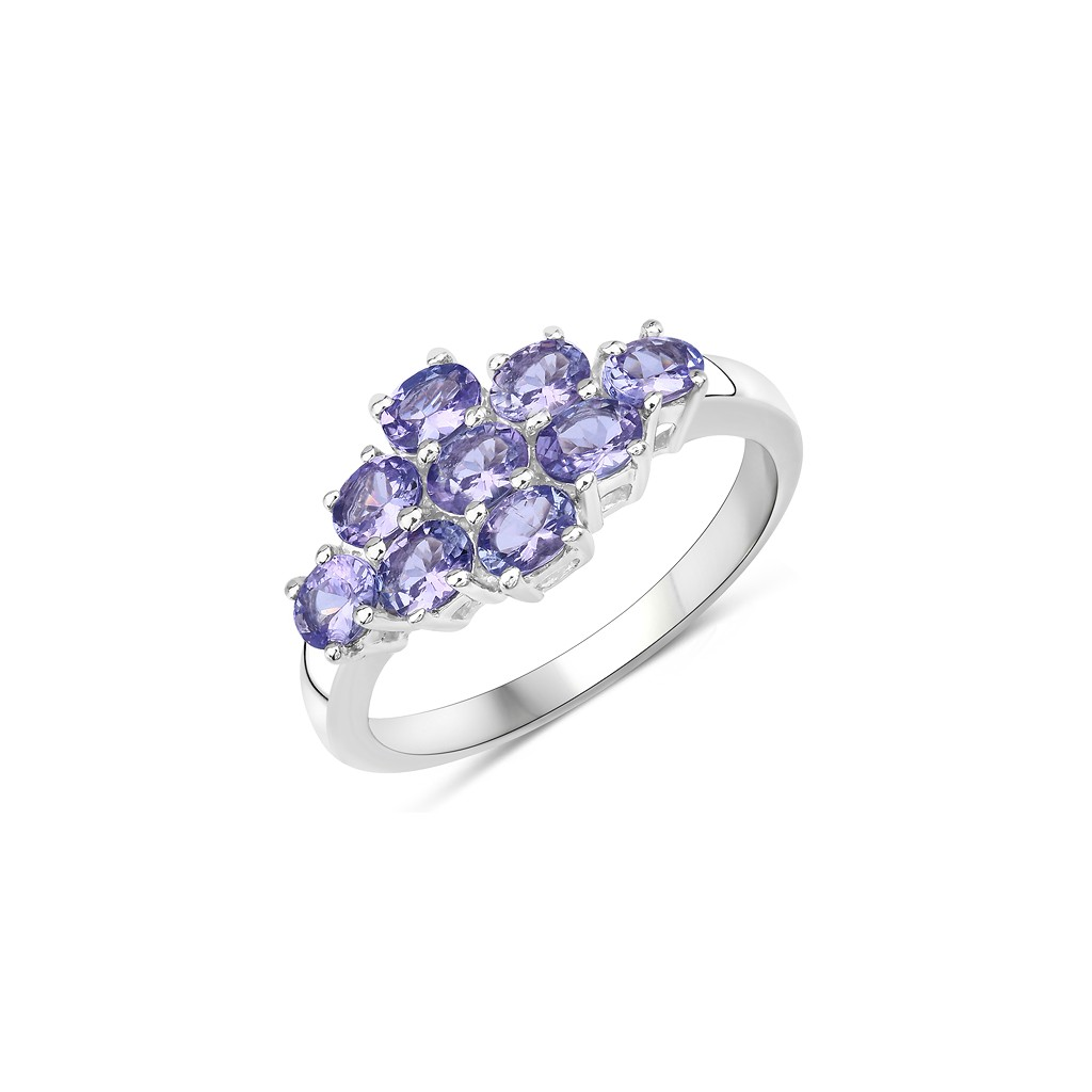 925 Sterling Silver 1.00 Carat Genuine Tanzanite Ring.