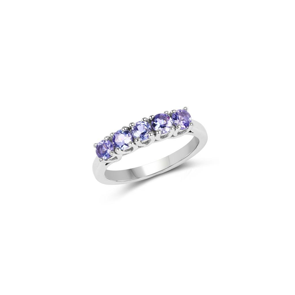 925 Sterling Silver 0.95 Carat Genuine Tanzanite Ring.