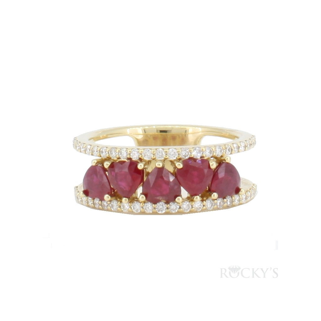 14k yellow gold ruby ring with diamonds 1.93ct