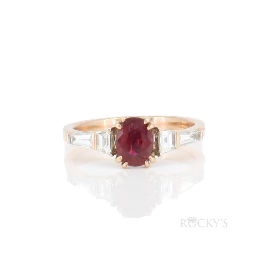 14k rose gold ruby ring with diamonds 0.58ct