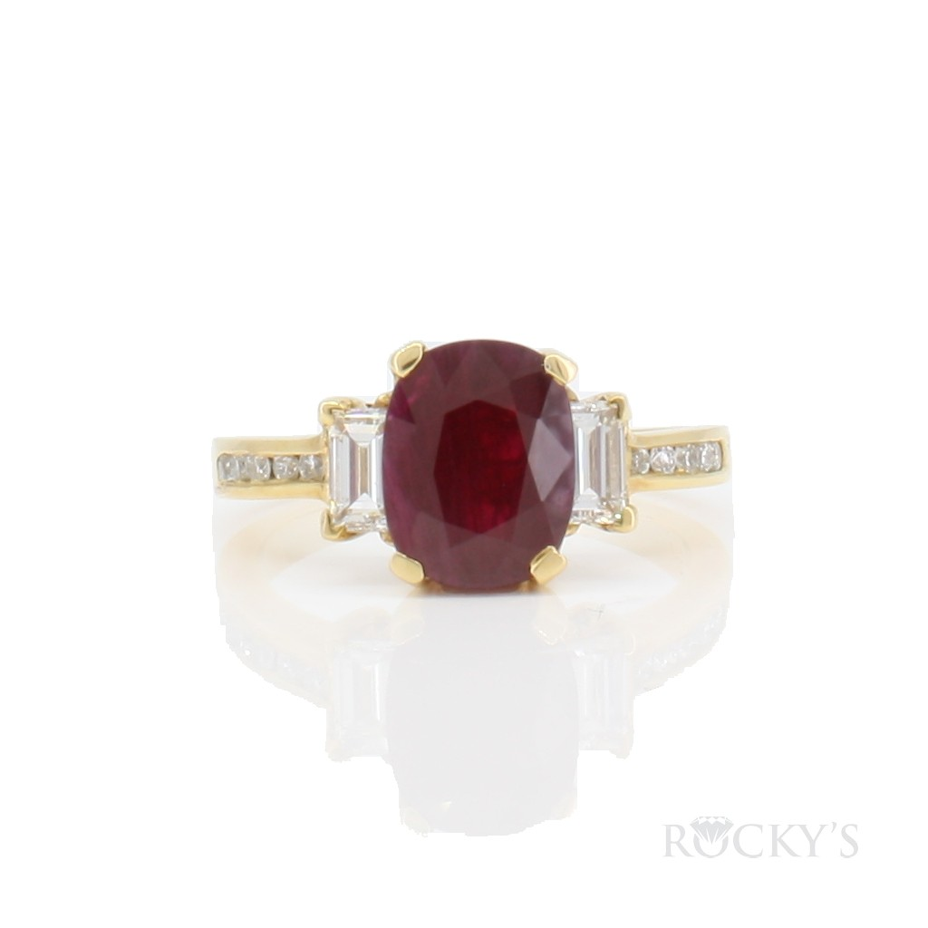 Ruby and diamonds ring with 2.66 Carats