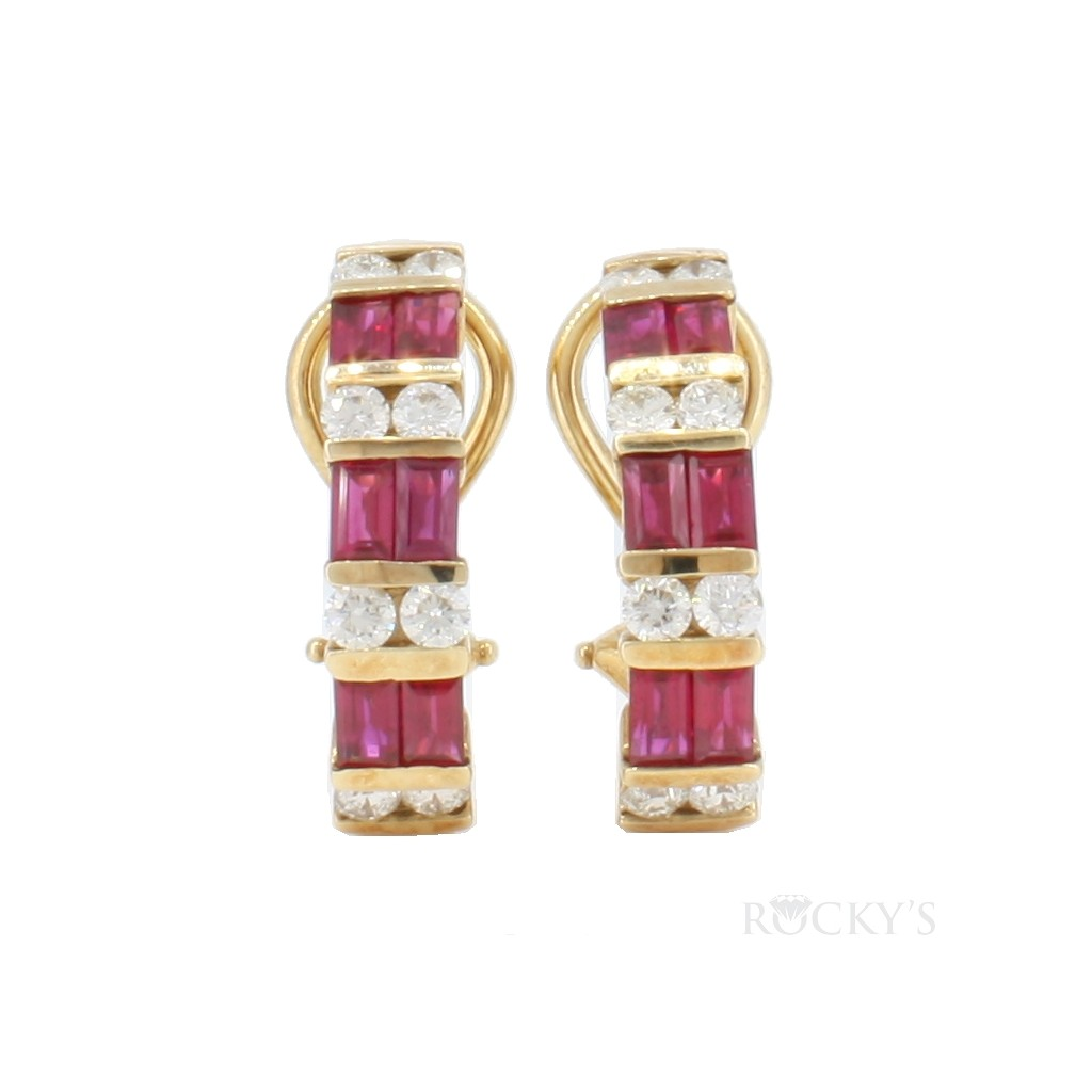 14k yellow gold ruby hoops earrings with 2.45ct