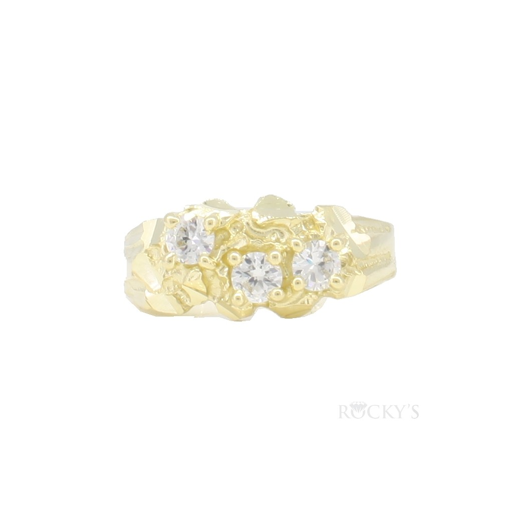10k yellow gold ladies nugget ring with cz