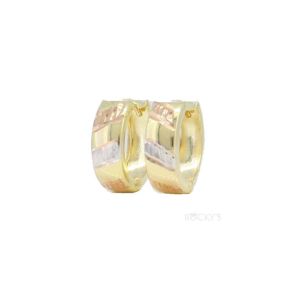10K three tone gold huggie earring - 39033
