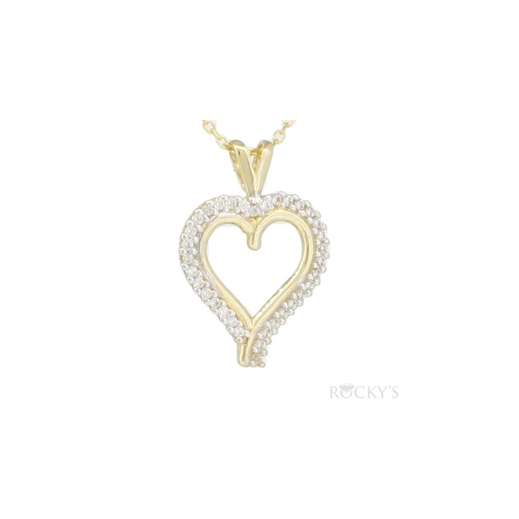 10k Yellow gold heart pendant - 38766